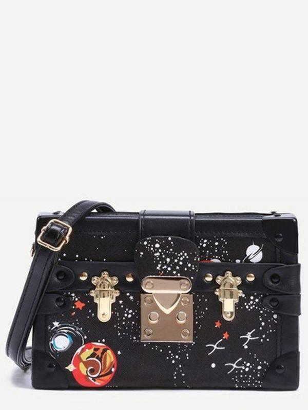 Fashion Space Printing Bag - Black