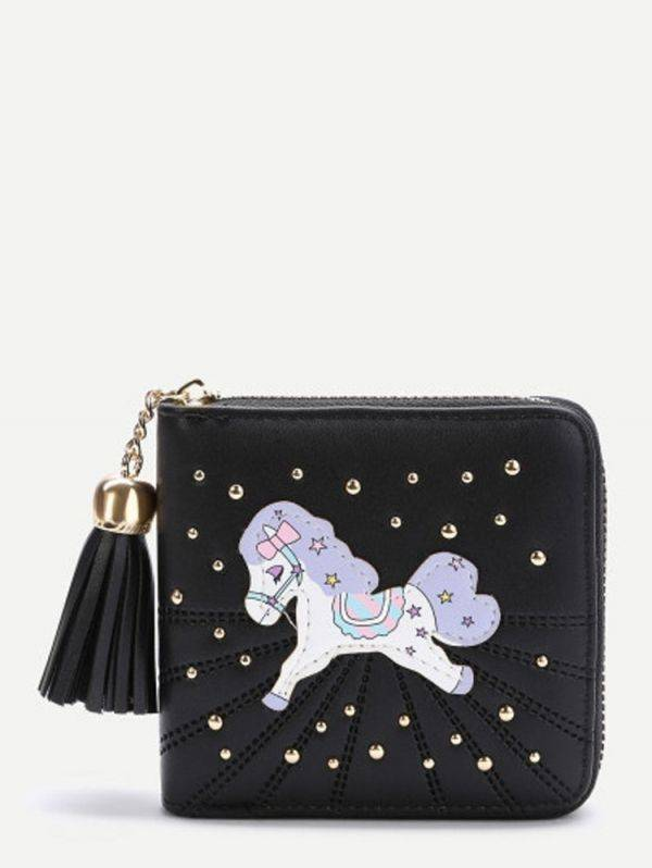 The horse print wallet - black