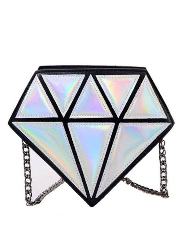 Silver bag with triangles and chain design