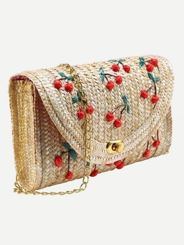 Shoulder bag of woven grass