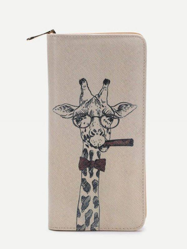 A giraffe printed purse