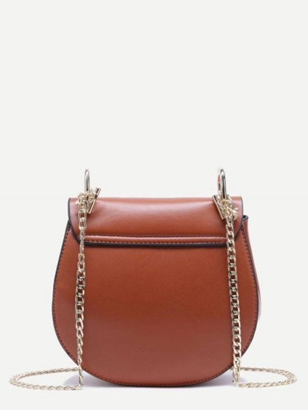 Leather shoulder bag with chain divided into two colors