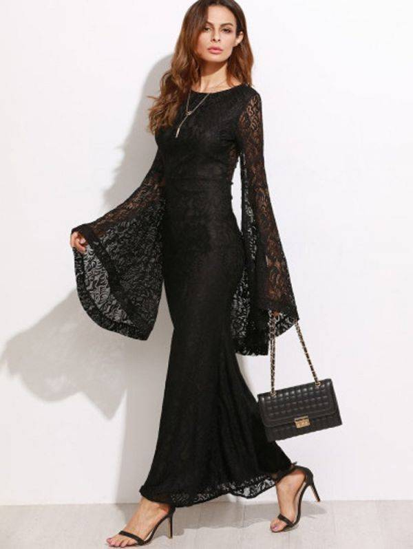 Long dress black lace with bell sleeves