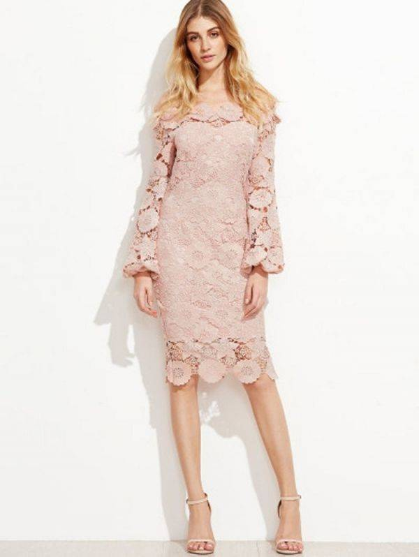 Pink dress with open-shoulder lace