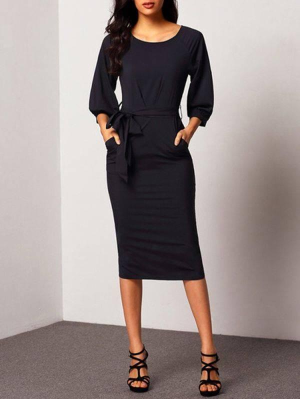 فستان شيفون ضيق مع حزام