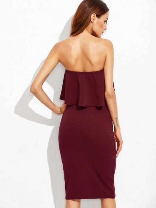 فستان ضيق عنابي اللون بكشكشة مكشوف الكتف-4