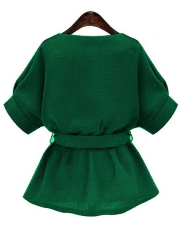Green blouse half sleeve V collar with waist ties