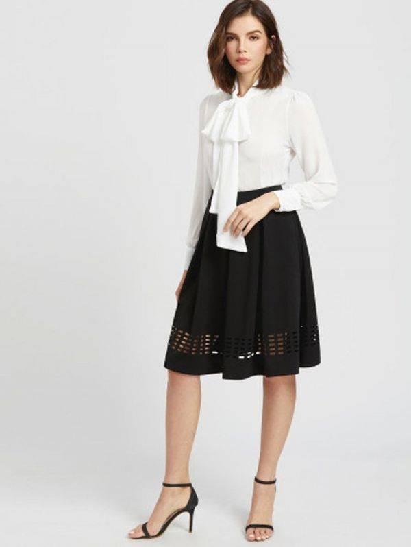 Long Sleeve Blouse Necktie - White