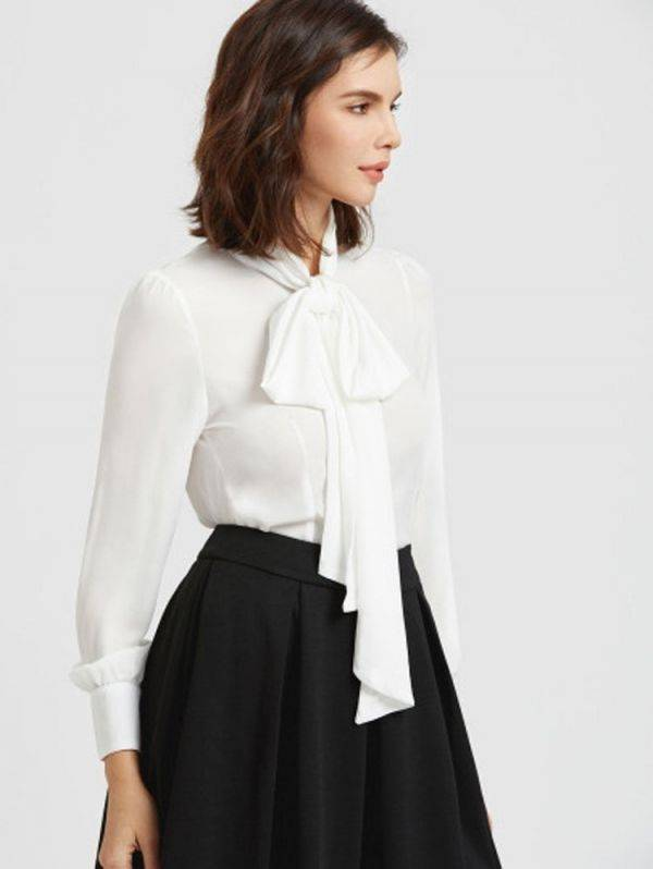 Long Sleeve Blouse Necktie - White
