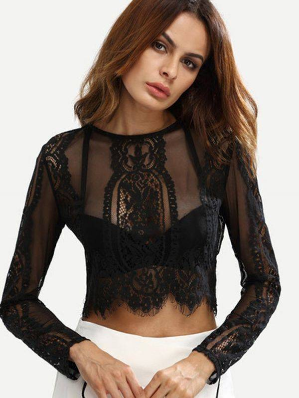 Black blouse attractive lace long you