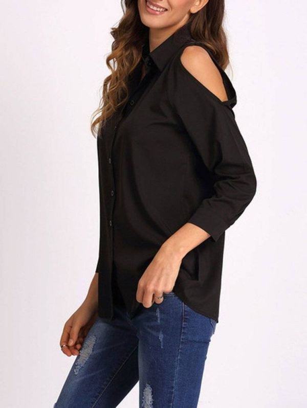 Black blouse with open shoulder and long sleeve