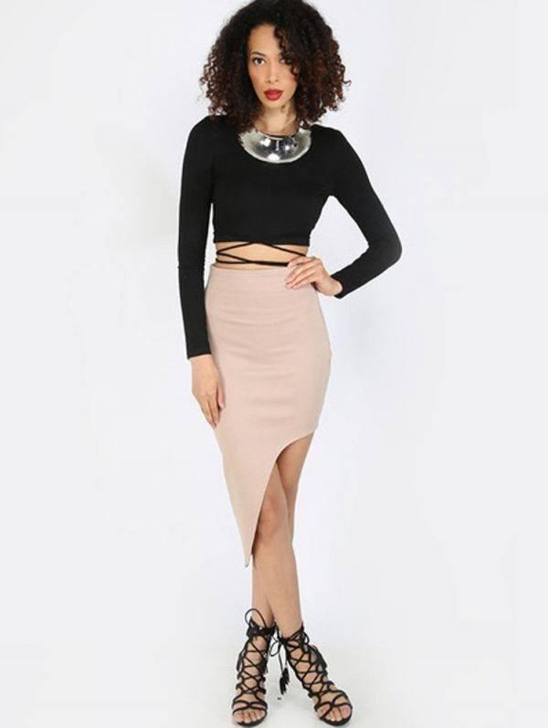 Short black blouse exposed back long sleeve
