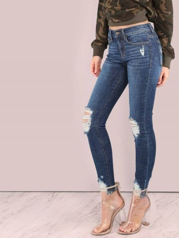 Long narrow jeans - blue