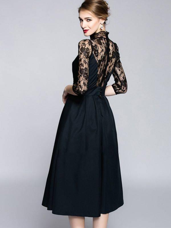 فستان اسود طويل ماكسي