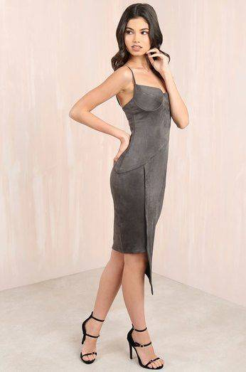 Jet-meed dress is browned gray
