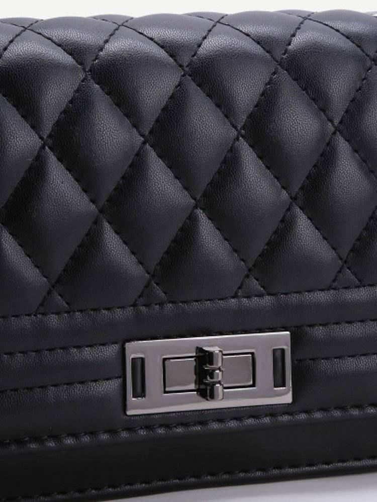 حقيبة نسوية أزياء سوداء مع السلسة-2