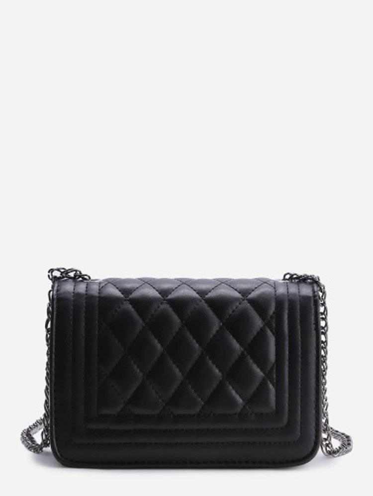 حقيبة نسوية أزياء سوداء مع السلسة-1