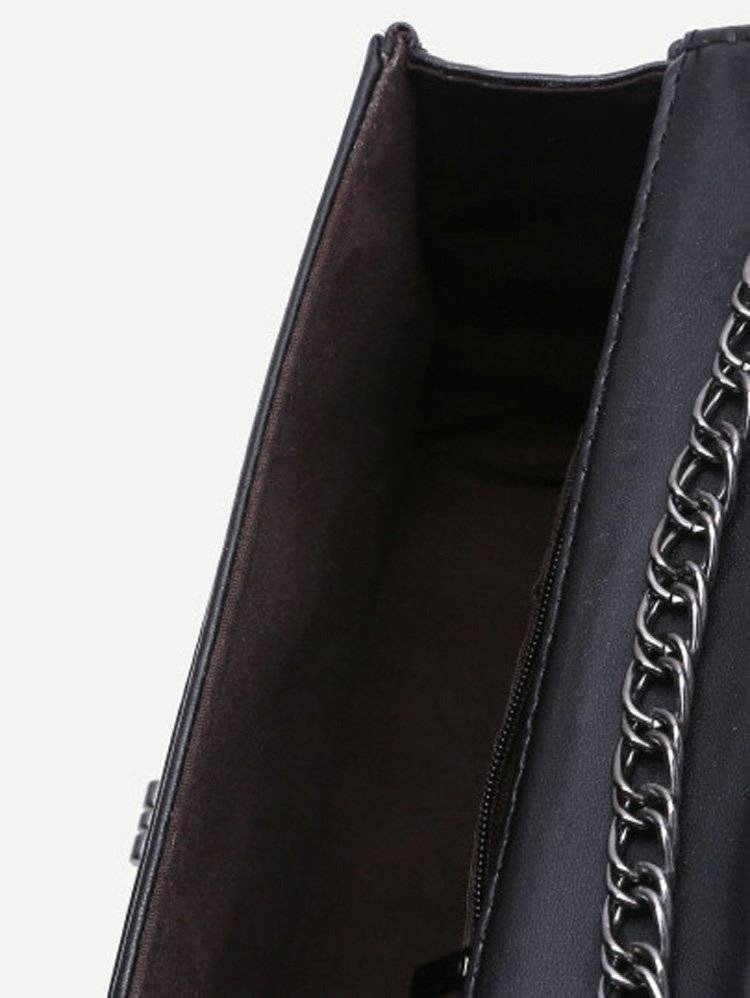 حقيبة نسوية أزياء سوداء مع السلسة-4